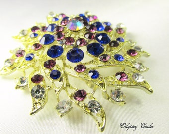 Vintage style 2.5 inch large Gold, Amethyst Purple and Cobalt Blue Large brooch for bouquet or jewelry decoration