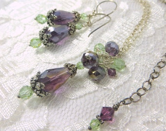 COLOR CHANGING Bridal or Bridesmaid Necklace Earring Set in Purple Amethyst and Swarovski Mint Green Cantaloupe changing to Lavender Rose