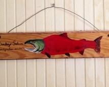 "Pacific Salmon painting on reclaimed pine wood. 24""  home decor sockeye salmon kokanee fishing art with stainless steel hanger lake lodge"