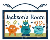 Monsters & Stars Wood Door Sign/Plaque Nursery Decor/Baby/Boys/Kids/Teacher Personalized with any Name or Text So Cute!