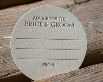 50 Advice for the BRIDE & GROOM Coasters, modern design (Letterpress printed, 3.5 inches circle), perfect for weddings