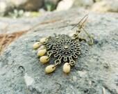 Tribal chandelier earrings, Ethnic shield cream drop earrings. Bohemian jewelry. Gift idea
