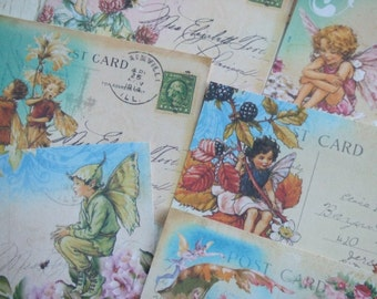 Fairy notecards - Post card notecards - vintage fairy notecards -  blank notecards - embellishments