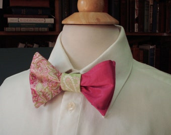 Mens Wedding Bow Tie / Custom Made Pre-tied Bow Tie / Men's Accessories / Groom, Groomsmen, Country Wedding / Pink And Green  Ties / Fuschia