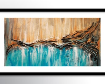 11x17 PRINT Abstract Painting on Glossy Cover Stock, Wall Art, Sea Shore Blue & Sand Colors by Federico Farias