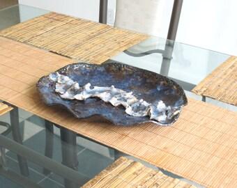 Contemporary Ceramic Centerpiece Black Blue Clay Art Vessel Modern Decorative Pottery Dish Showcase Tray
