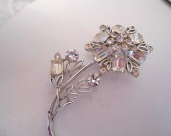 Vintage brooch, signed Coro brooch, crystal brooch, 1950s retro brooch,floral  brooch, elegant bridal wedding brooch,vintage jewellery