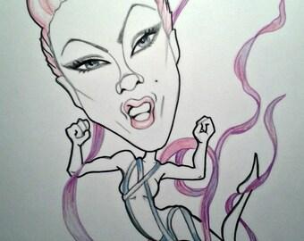 Pink Rock Caricature Rock Portrait Music Art by Leslie Mehl Art