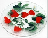 Red Strawberries Glass Plate - Sydenstriker Studio Art - Fused Glass Plate - Dessert Or Salad Size Plate - Collectible Art Glass Plate