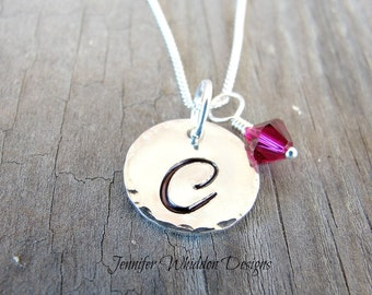 Silver Initial Birthstone Necklace -  Initial Necklace - Monogram Jewelry - Personalized Necklace - Valentine's Day Gift - Mom Gift