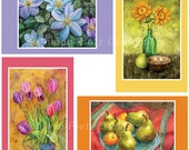 Set of 4 Watercolor Notecards featuring paintings by Kathleen Rietz