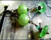 Bright Green Artistic Earrings, Greek Sea Glass, Peridot Green Italian Art Glass & Crystal Vintage Style, Downton Abbey Earrings in Green