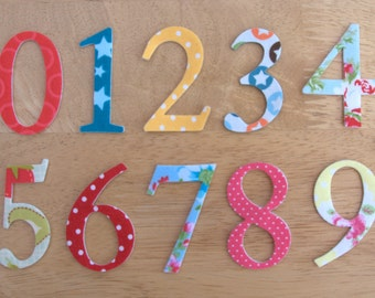 2 shabby chic iron on fabric numbers 5cm number appliques made to order choose your digits and fabrics ships from uk