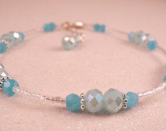 Anklet Crystal Anklet Beaded Anklet Crystal Ankle Bracelet Blue Anklet Crystal Jewelry Aqua Jewelry Beaded Jewelry