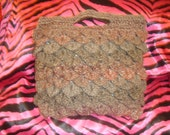 brown owl feather / scale stitch crochet wool tote handbag vegan  bag rustic