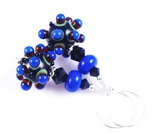 Glass Bead Earrings, Black Lampwork Earrings, Glass Bead Jewelry, Fun Beadwork Earrings, Lampwork Jewelry, Blue Bumpy Earrings,
