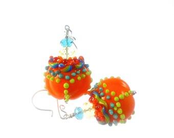 Orange Lampwork Earrings, Handmade Glass Bead Earrings, Colorful Mod Earrings, Beadwork Earrings, Beaded Earrings