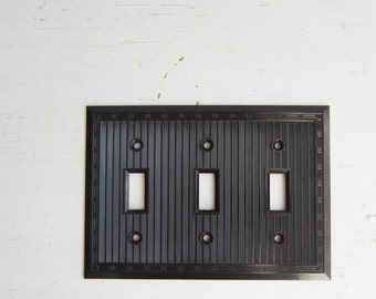 Vintage Art Deco Brown Bakelite Triple Light Switch Cover - Switch Plate - New Old Stock w/ Original Screws - Qty Available - Smoothie