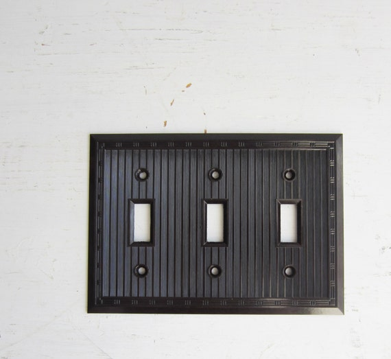 Vintage Art Deco Brown Bakelite Triple Light Switch Cover