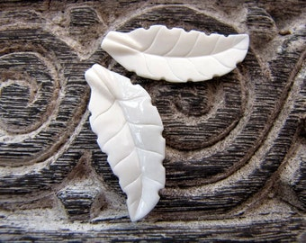 Tropical Leaf Pair in Carved Bone Undrilled