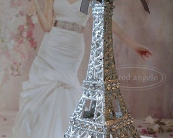 "Silver Eiffel Tower Cake Topper  5 & 1/2""   TALL  Wedding, Nursery Decor, Showers  5 and  1/2 INCHES TALL  We Ship Internationally"