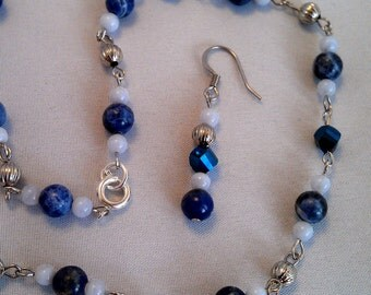 Sodalite and Blue Lace Agate Necklace and Earrings