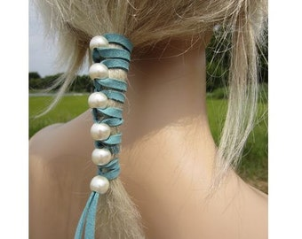 Pearl Leather Hair TIes Wraps Ponytail Holders Beaded Hair Extensions Choose Color Suede Large White Peal Beads Wedding Hair Styles