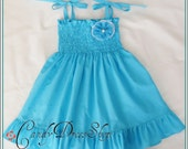 Aqua blue dress, turquoise dress, girls turquoise dress, Blue Frilly ruffle dress,Turquoise Easter dress, baby turquoise dress