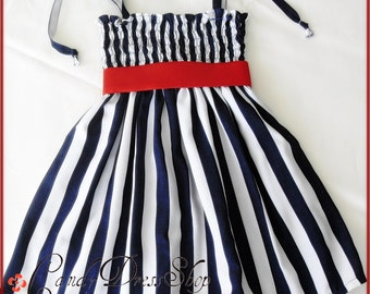 4th of July dress - Navy Blue and white Striped dress - Patriotic Girl Dress (Available in size 6 months to 6 years) Memorial Day Dress