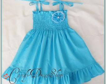 Aqua blue dress for girls, girls turquoise dress, Blue frilly dress, Aqua Blue Easter dress for girls, Aqua blue dress and matching headband