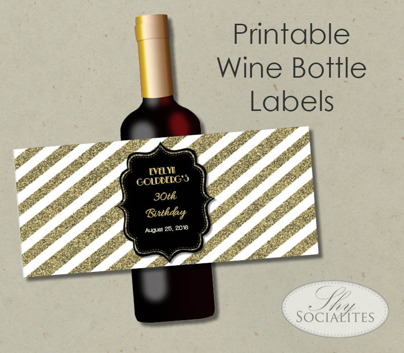 black gold glitter printable wine label hostess gift With how to print wine bottle labels