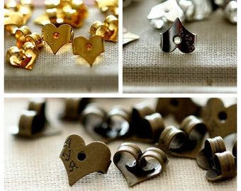 50 pcs Antique Bronze/ Silver /Gold  Plated Brass Earring Studs Back Stoppers  Nickel Free (EAR-87)