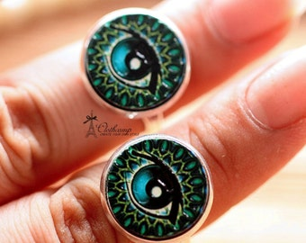 20% off -Unique 3D Embossed Eyes 16mm Round Handmade Wood Cut Cabochon to make Rings, Earrings, Bobby pin,Necklaces, Bracelets-(WG-33)