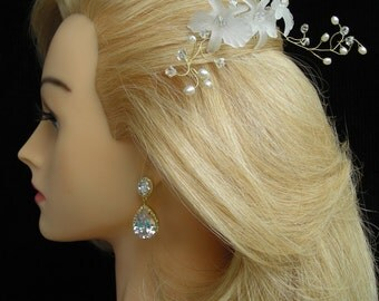 PRISCILLA  Bridal White Translucent Orchids and Freshwater Pearls Gold Hair Comb