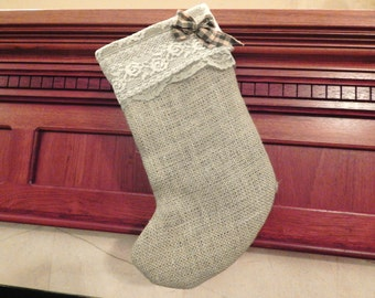 shabby chic green burlap Christmas stocking with lace trim country farmhouse holiday decor