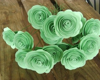 "1- 1 1/2"" sized mint green paper roses spiral rolled flowers for brides bouquet wedding decorations bridesmaid toss flower girl ledger green"