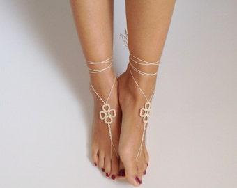 ivory cream, Barefoot Sandals, wedding, Bikini, Women, Beach, Bridal Sandals, Bridal Jewelry,shoes, READY TO SHIP