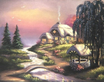Cottage well landscape original 30x40 oils on canvas painting by RUSTY RUST / L-76