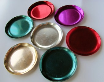 Flamingo By Nasco Anodized Aluminum Colored Coasters Made In Italy