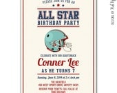Football NFL Sports Invitation - Retro Style - Customizable - Print your own - Birthday - Baby Shower