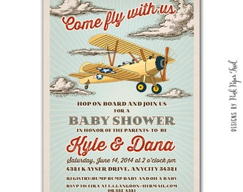 Retro Biplane Airplane Invitation - Birthday - Baby Shower - Aviator Party - Digital Printable Invitation