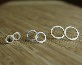 Silver Circle Studs—Thick—One Pair—Your Choice Small, Medium or Large—Ready-to-Ship