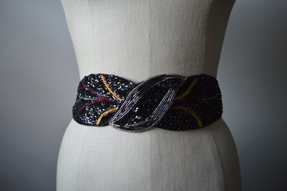 Beaded Belt 1980's Wide Beaded and Sequinned Belt with Adjustable Elastic Band and Hook