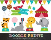 Circus Clipart - Digital Clip Art Printable - Big Red Tent, Elephant, Tiger, Pennant Banner - Personal Use Only