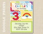 "Printable Rainbow Birthday Party Invitation - Customized Printable Invitation Party - Chevron, Polka Dot, Rainbow Party - size 5x7"""