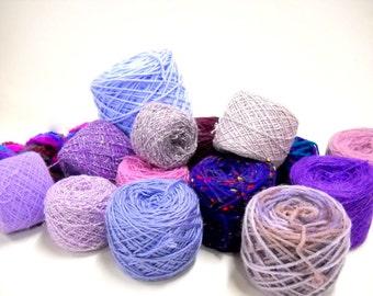 Mixed Lot Lavender to Purple Yarn, Mystery Box, Knitting Notions, Crochet Supplies, ybox1/lav