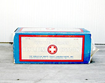Antique White Cross Cotton in Original Box | Vintage First Aid