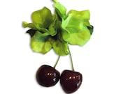 Tiki PinUp Cherries, Rockabilly Cherry and Tropical Green Hydrangea Hawaiian  Flower Hair Clip by Viva Dulce Marina