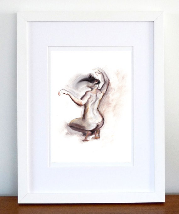 Print, Art Print, Wall Decor, Wall Art, Illustration Print,Pink Grey Pastel Nude Figure Drawing, No. 34 - print 8x11.5 inch (21x29.5 cm)