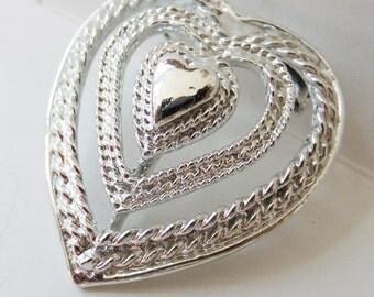 Vintage jewelry brooch by Gerrys in silver heart wedding brooch Sale half off